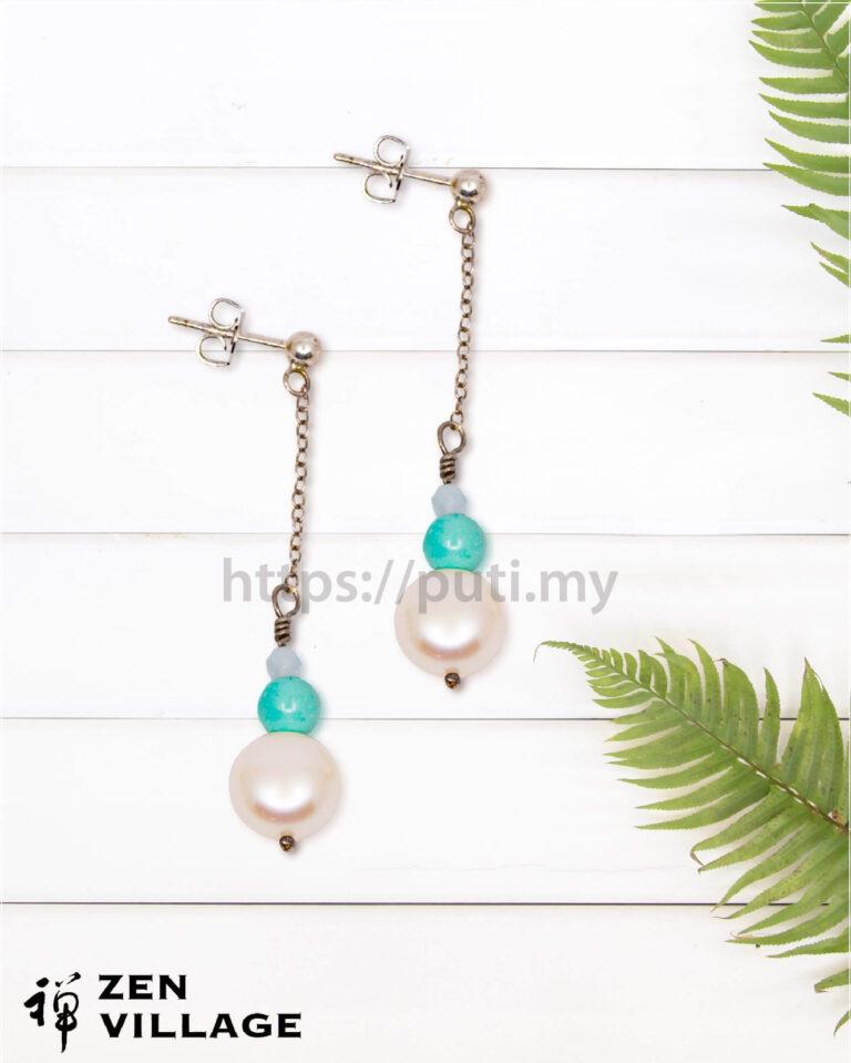 绿松石珍珠耳环
