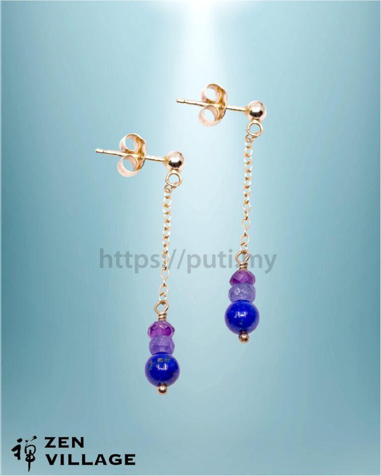 青金石紫水晶耳环