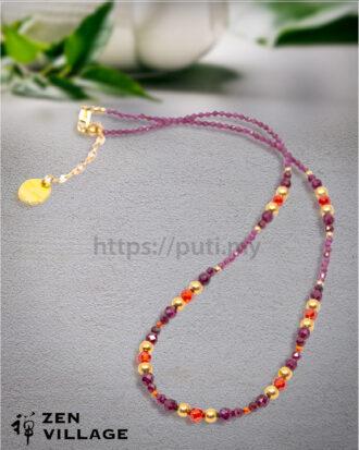 GF鋯石石榴石紫水晶项链