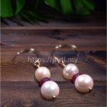 红宝石珍珠耳环